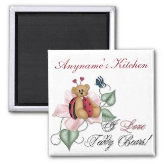 I Love Teddy Bears Lady Bug Bear 2 Inch Square Magnet