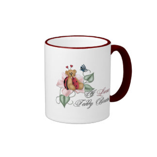 I Love Teddy Bears Lady Bug Bear Ringer Mug