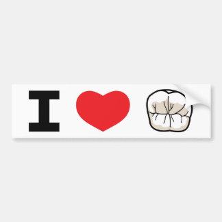 """""""I LOVE TEETH"""" Bumper Sticker Car Bumper Sticker"""