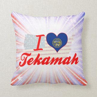 I Love Tekamah, Nebraska Throw Pillows