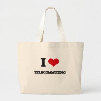 I love Telecommuting Jumbo Tote Bag