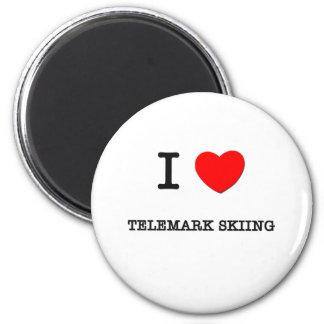 I Love Telemark skiing 2 Inch Round Magnet