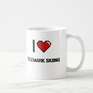 I Love Telemark Skiing Digital Retro Design Classic White Coffee Mug