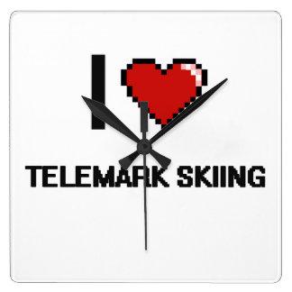 I Love Telemark Skiing Digital Retro Design Square Wallclock