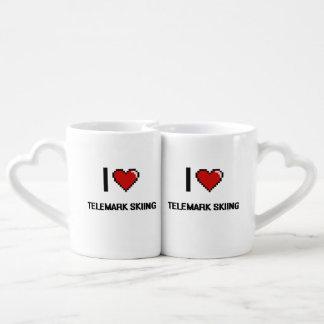 I Love Telemark Skiing Digital Retro Design Couples' Coffee Mug Set