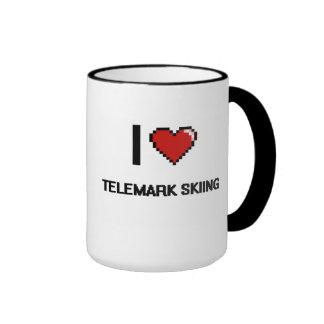I Love Telemark Skiing Digital Retro Design Ringer Coffee Mug