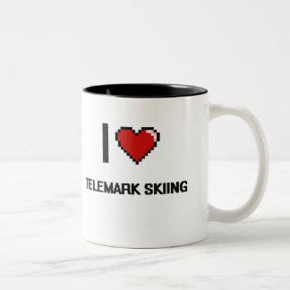 I Love Telemark Skiing Digital Retro Design Two-Tone Coffee Mug
