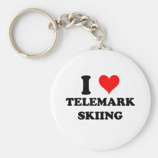 I Love Telemark Skiing Keychain