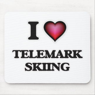 I Love Telemark Skiing Mouse Pad