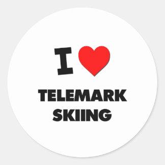 I Love Telemark Skiing Classic Round Sticker