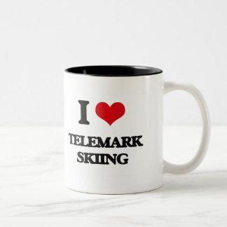 I Love Telemark Skiing Two-Tone Coffee Mug