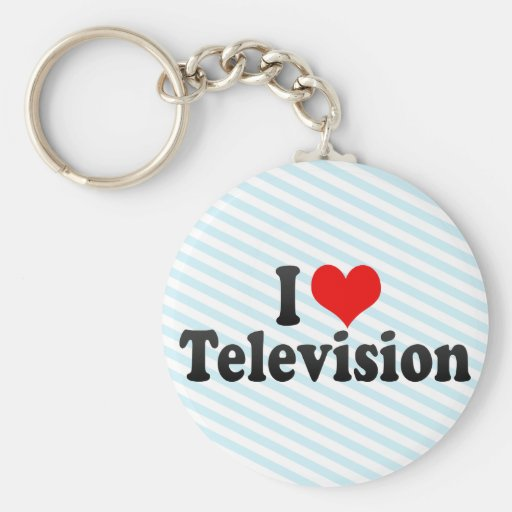 I Love Television Basic Round Button Keychain