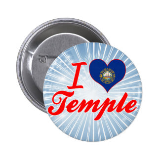 I Love Temple, New Hampshire Buttons