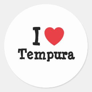 I love Tempura heart T-Shirt Round Stickers