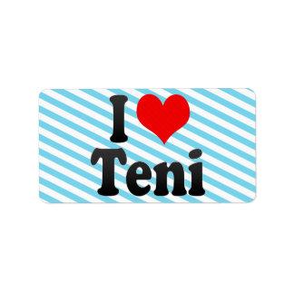 I Love Teni, India Address Label