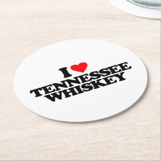 I LOVE TENNESSEE WHISKEY ROUND PAPER COASTER