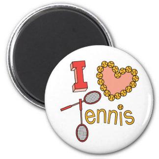 I Love Tennis 2 Inch Round Magnet
