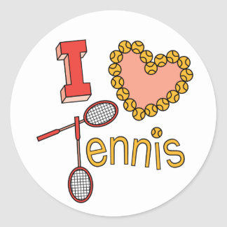 I Love Tennis Classic Round Sticker