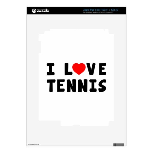I Love Tennis Decals For iPad 3