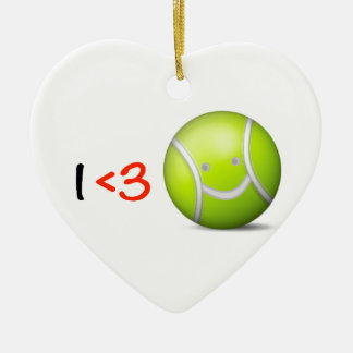 I love tennis Double-Sided heart ceramic christmas ornament