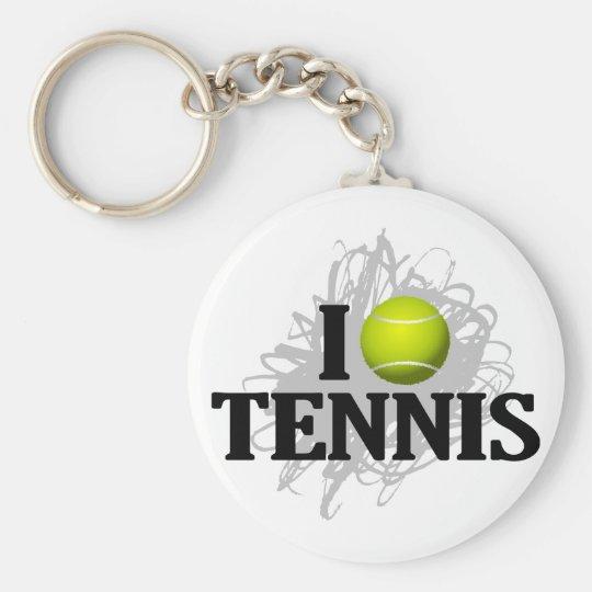 I Love Tennis Emblem Keychain