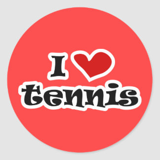 I love tennis gifts and t shirts with heart design classic round sticker