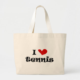 I love tennis gifts and t shirts with heart design large tote bag