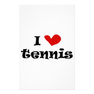 I love tennis gifts and t shirts with heart design stationery