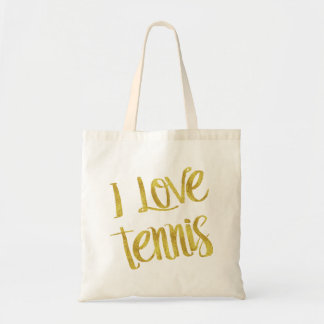 I Love Tennis Gold Faux Foil Metallic Quote Tote Bag