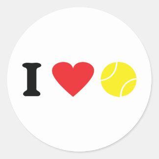 I love tennis icon round sticker