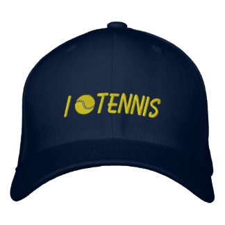 I Love Tennis Navy Cap Embroidered Hats