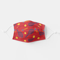 I love tennis pattern dark red cloth face mask