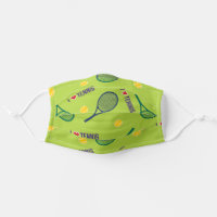 I love tennis pattern vivid green cloth face mask