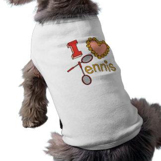 I Love Tennis Pet T Shirt