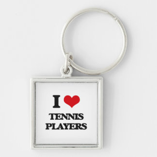 I love Tennis Players Silver-Colored Square Keychain