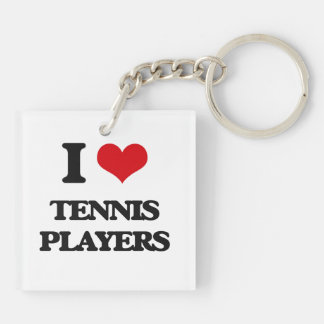 I love Tennis Players Double-Sided Square Acrylic Keychain
