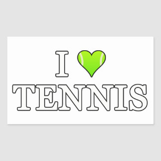 I Love Tennis Rectangular Sticker