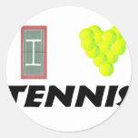 I love tennis round sticker