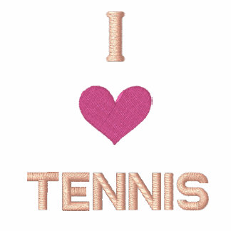 """""""I LOVE TENNIS"""" SHIRT - Customized EMBROIDERY Embroidered Hooded Sweatshirt"""