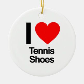 i love tennis shoes Double-Sided ceramic round christmas ornament