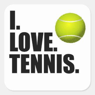 I Love Tennis Square Sticker