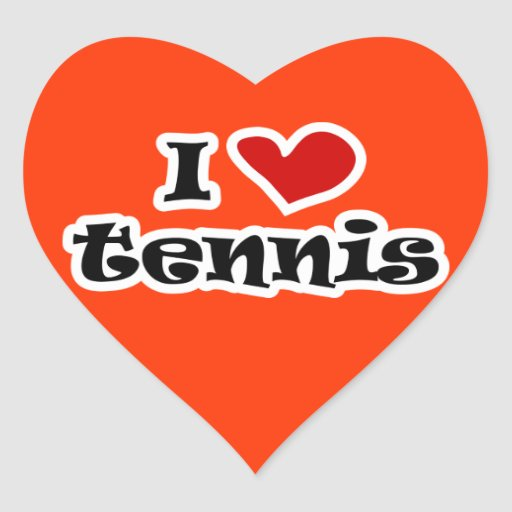 I love tennis sticker - heart shape