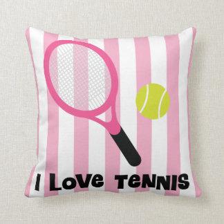 I Love Tennis striped pink sports fan pillow gift