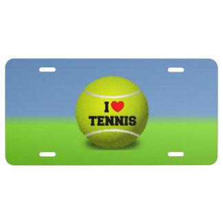 I Love Tennis - tennis ball - grass License Plate