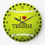 I Love Tennis - Tennis Ball Large Clock