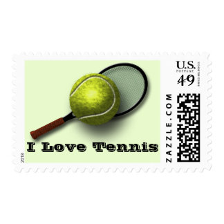 """""""I Love Tennis"""" """"U.S. Stamp"""" with Ball and Racket Postage Stamps"""