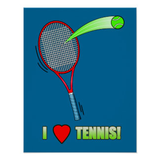 I Love Tennis with Heart Poster