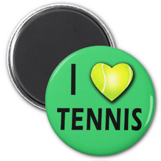 I Love Tennis with Tennis Ball Heart 2 Inch Round Magnet