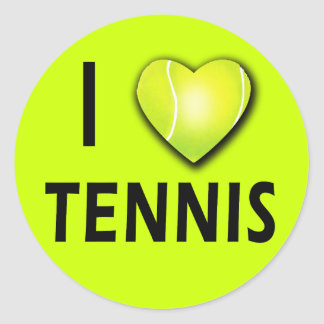 I Love Tennis with Tennis Ball Heart Classic Round Sticker