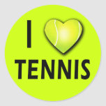 I Love Tennis with Tennis Ball Heart Stickers
